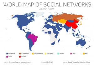 La Mappa dei Social Network nel Mondo - Giugno 2011, Vincos.it