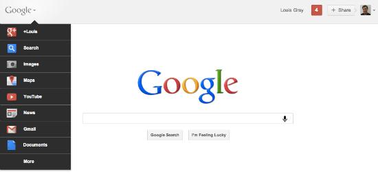 La nuova barra dei menù di Google
