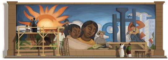 Il doodle di Google è un murales di Diego Rivera