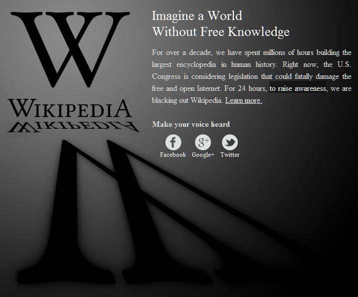 """Wikipedia contro il SOPA, """"Immaginate un mondo senza la libera conoscenza"""""""