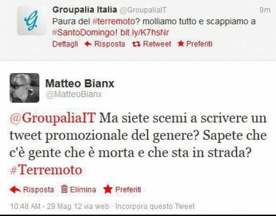 Terremoto in Emilia, le scuse ufficiali di Groupalia