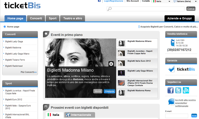 Ticketbis Italia - homepage