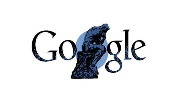 Il Pensatore di Auguste Rodin nel doodle di Google