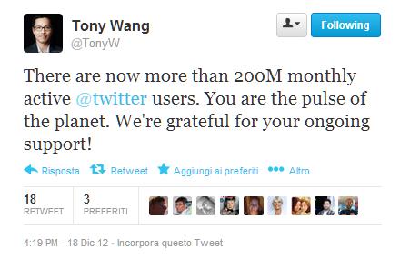 Twitter 200 milioni - Tony Wang