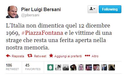 #piazzafontana @pbersani