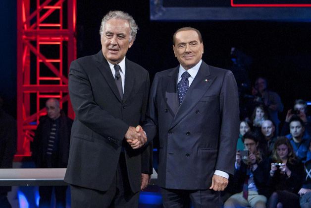 Michele-Santoro-e-Silvio-Berlusconi---(c)2013-LaPresse