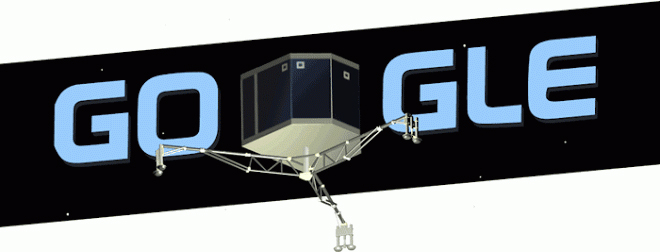 Il doodle di Google dedicato al lander Philae della missione Rosetta
