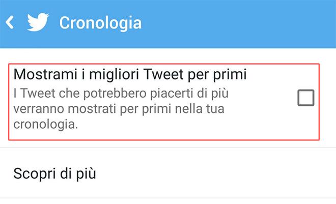 Twitter timeline migliori tweet prima android