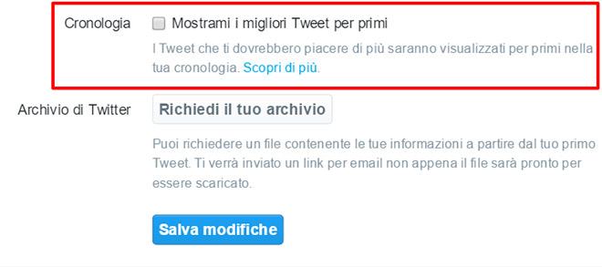Twitter timeline migliori tweet prima desktop
