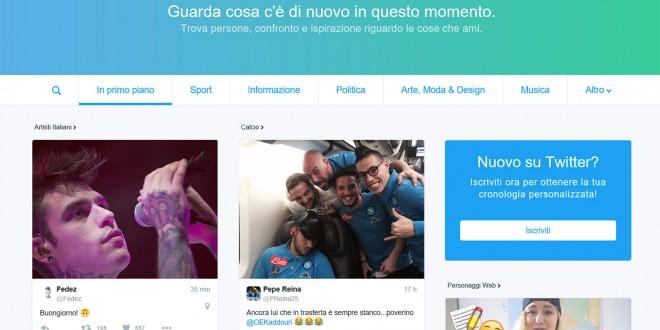 E Twitter rende disponibile la nuova home anche in Italia