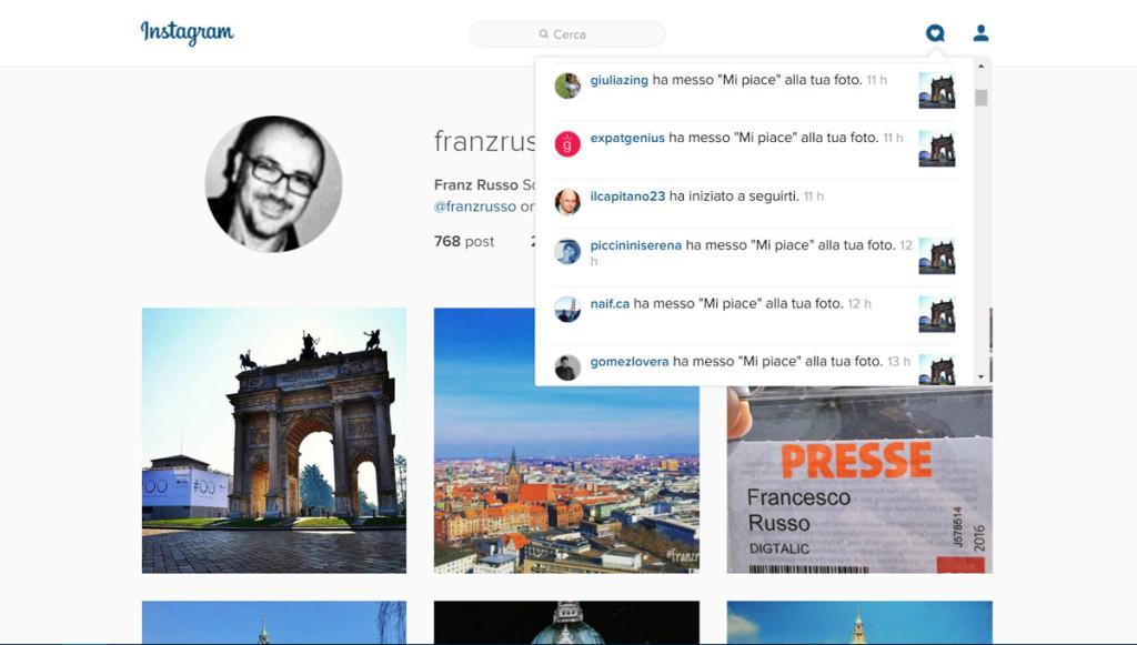 instagram notifiche web