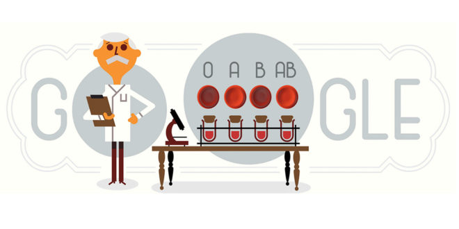Il doodle di Google oggi è per il biologo Karl Landsteiner