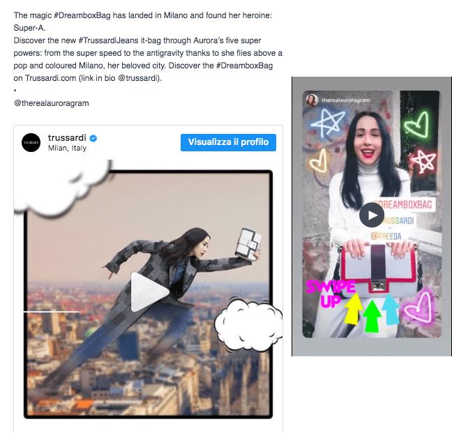 La fase di lancio della campagna Trussardi dreambox bag su Instagram