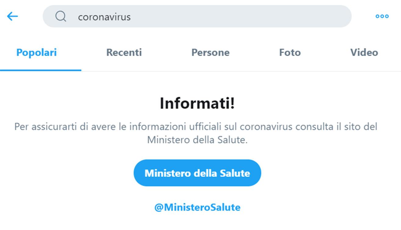Twitter contro le fake news sul coronavirus insieme al Ministero della Salute